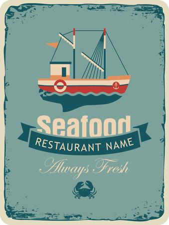 plato de pescado: Bandera retra por una tienda o restaurante de mariscos con barcos de pesca y cangrejo