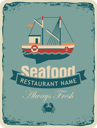 frigate: Retro banner for a restaurant or seafood store with fishing boats and crab