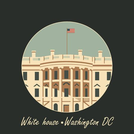 american history: vector illustration white house washington dc with flag