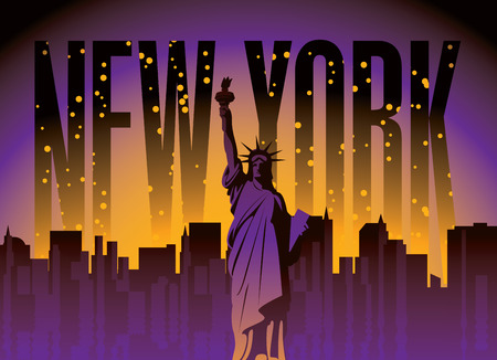 new york night: banner with of New York City, Statue of Liberty at night star sky