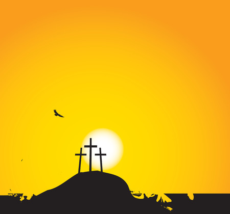 calvary: vector illustration on Christian themes with three crosses on Mount Calvary