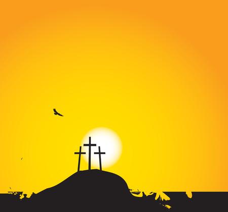 sinner: vector illustration on Christian themes with three crosses on Mount Calvary