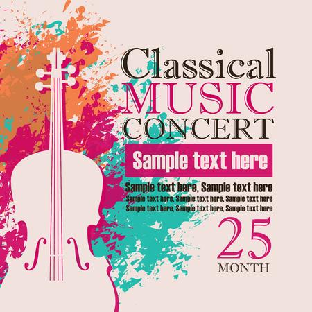manifesto concerto di musica per un concerto di musica classica con l'immagine di un violino su uno sfondo di spruzzi di colore e gocce Vettoriali