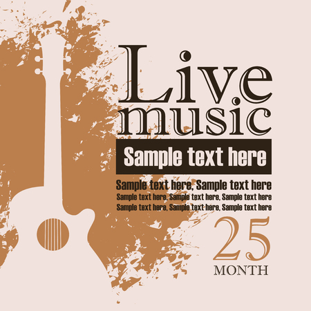 folk music: banner with an acoustic guitar on grungy color background