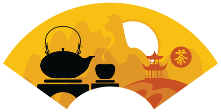 Mountain Chinese landscape with pagoda and teapot and cup of tea. Hieroglyphics Tea