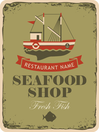fishing boats: Retro banner for a restaurant or seafood shop with fishing boats and fish Illustration