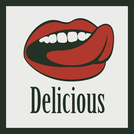 la boca: lengua lamiendo la boca y las palabras deliciosa Vectores