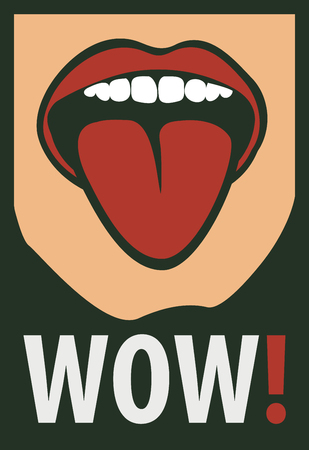 wonder: vector drawing of the Women mouth with his tongue hanging out screaming wow