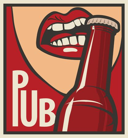 opens: mouth opens a beer bottle with his teeth in retro style