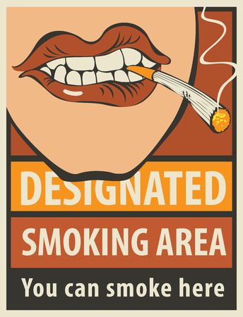 abstain: signboard designated smoking area with a pattern of human lips and lit cigarette Illustration