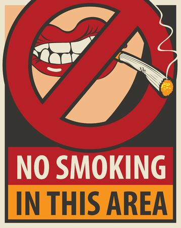 hazard damage: signboard no smoking in this area with a pattern of human lips and lit cigarette and negates the sign ban Illustration