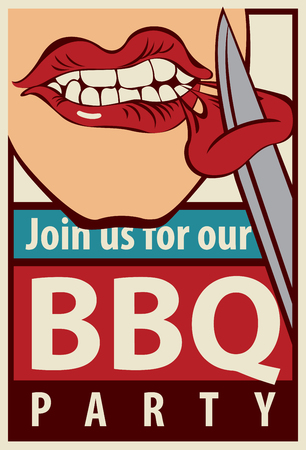 grill meat: Retro banner barbecue grill party with a human-eating mouth piece of meat with a knife Illustration