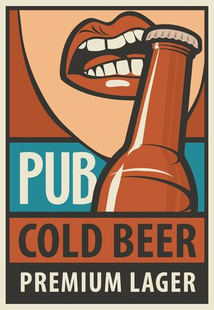 opens: bunner for pub with mouth opens a beer bottle with his teeth in retro style