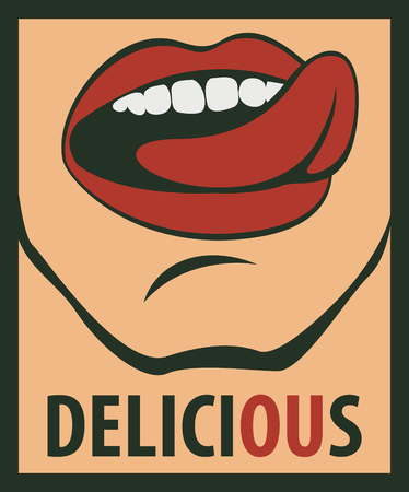 tongues: tongue licking his mouth and the words delicious Illustration