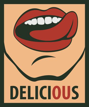 wort: Zunge leckt seinen Mund und die Worte köstlich Illustration