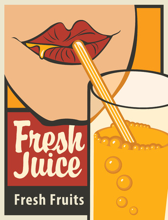 fresh: girl is drinking a glass of fresh juice from the tube Illustration