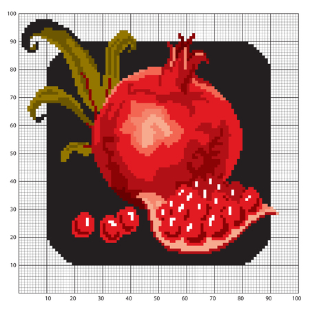 floral objects: Banner cloth embroidered with a needle and a pomegranate on a black background