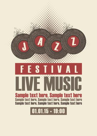 on records: Musical poster depicting jazz festival vinyl records Illustration