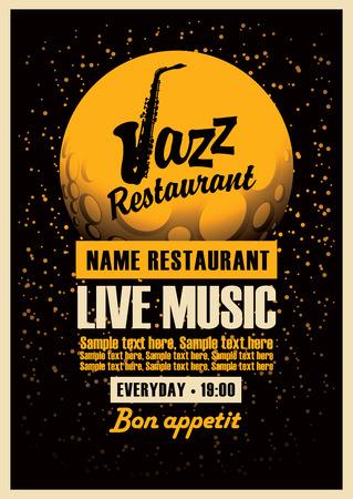 Poster con un sassofono per ristoranti jazz con iscrizione musica dal vivo sullo sfondo della luna in stella
