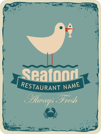 beak: Retro banner for a seafood restaurant menu with a seagull with a fish in its beak Illustration