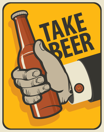 brasserie: Human hand with a bottle of beer in a retro style on a bright orange background