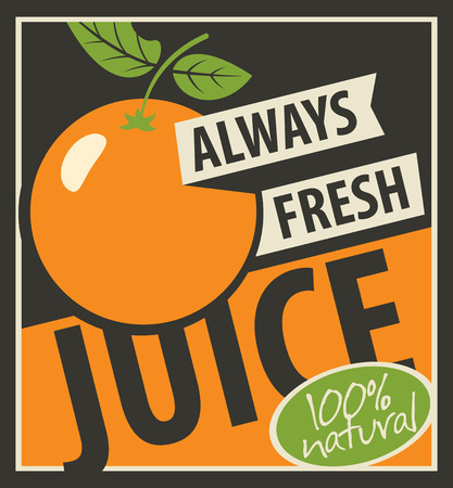 always: Banner with oranges and inscription always fresh juices Illustration