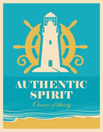 away travel: banner with lighthouse and ships helm and the authentic spirit of the inscription against the background seascape with beach