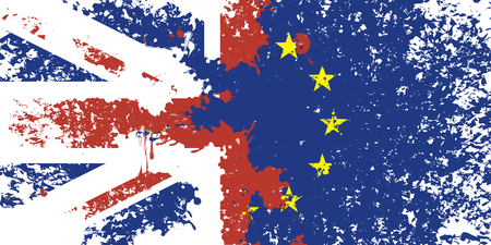 discharge: brexit. Flag of Britain and the European Union from stains and splashes at the time of discharge