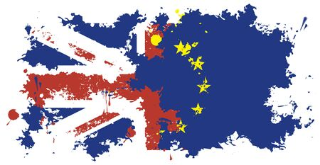 discharge time: brexit. Flag of Britain and the European Union from stains and splashes at the time of discharge