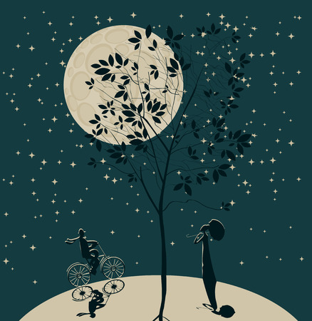 imprisonment: romantic date. Silhouette of a girl and a guy on a bicycle on the globe on the background of the sky and the moon under the tree Illustration