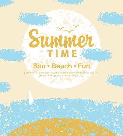 himmel hintergrund: Reise-Banner mit der Aufschrift Sommerzeit auf den Strand, Meer, Wolken und Segelboot