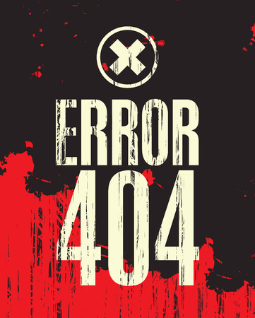 file not found: banner with the inscription error 404 against the backdrop of blood stains Illustration
