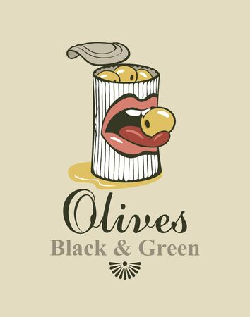 sexy tongue: Conserve tin of black and green olives and mouth and tongue