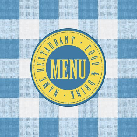cotton fabric: menu for a cafe or restaurant on the background of a checkered tablecloth. Illustration