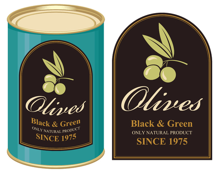 cooking oil: illustration of a tin of black and green olives