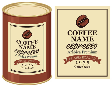 coffe beans: A tin with label of coffe beans