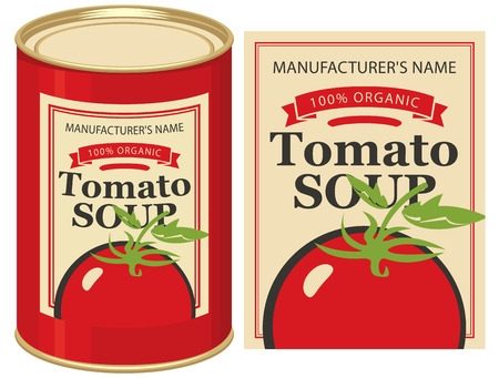 editorial: illustration of a tin can with label tomato soup