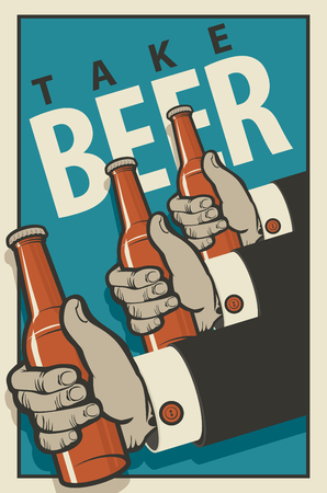 brasserie: Three hands with bottles of beer in a retro style on a blue background