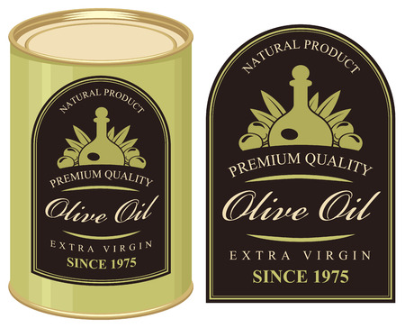 tin: illustration of a tin with label olive oil Illustration