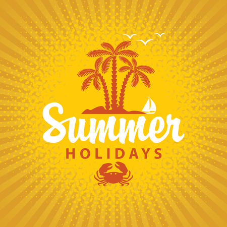 summer trees: Travel banner summer vacation with island and palm trees on a blue background