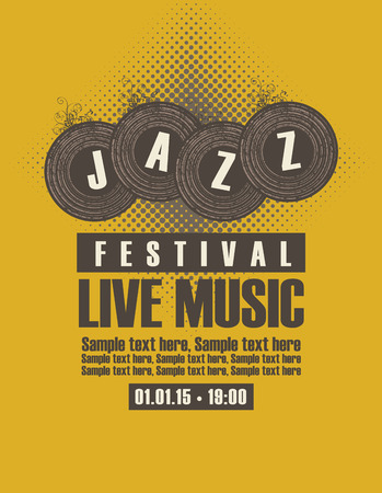 depicting: Musical poster depicting jazz festival vinyl records Illustration