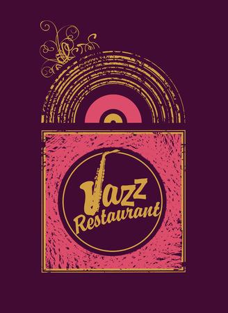live: inscription jazz restaurant with saxophone on vinyl in retro style Illustration