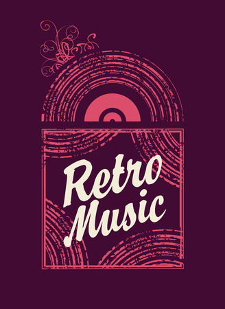 live entertainment: banner with the inscription retro music an old vinyl record Illustration