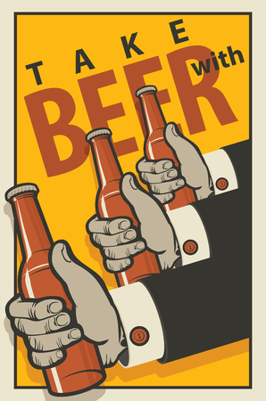 three hands: Three hands with bottles of beer in a retro style on a yellow background Illustration