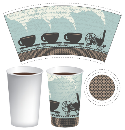 mug: pattern paper cup of tea or coffee with an old steam locomotive Illustration