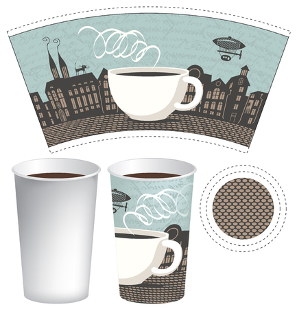 tea cup: paper cup for tea or coffee with a picture of the old town