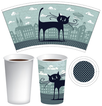 paper cup: paper cup for tea or coffee with a picture of the old town and black cat Illustration