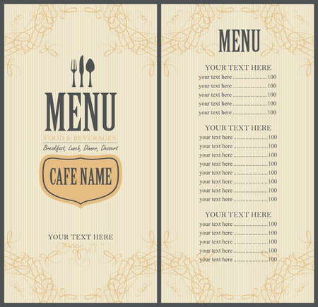 beverage menu: Menu Food and beverage for the restaurant in retro style with cutlery