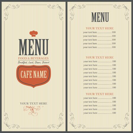 toque: Menu Food and beverage for the restaurant in retro style with toque