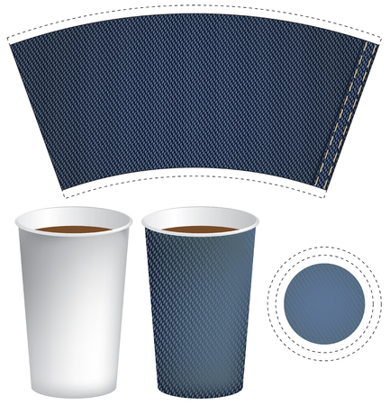 hot cup: paper cup for hot drink coffee or tea on the background of denim